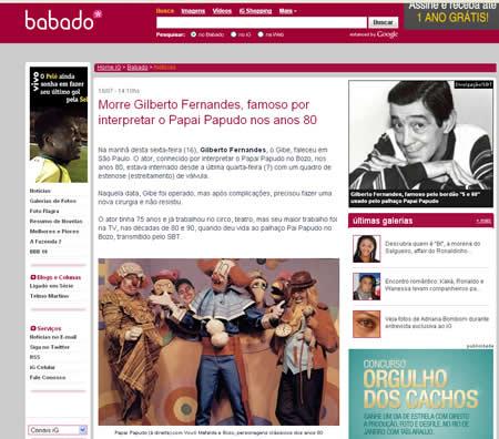 Foto falsa da familia Bozo no site do IG