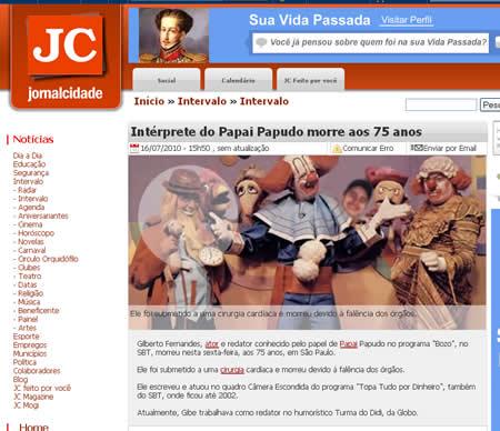 Foto falsa da familia Bozo no site do Jornal Cidade