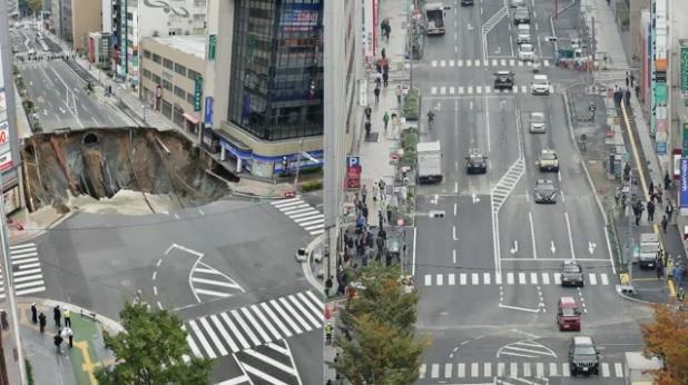 Japoneses teriam tapado um enorme buraco em apenas 2 dias! Será verdade? (foto: Reprodução/Facebook)