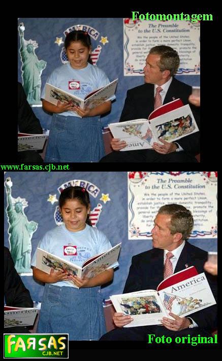 Bush com livro de cabeça pra baixo