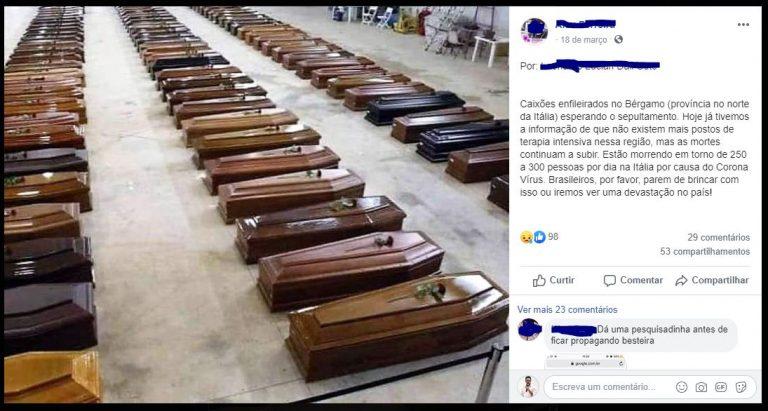 Fotos mostram caixões enfileirados de vítimas do coronavírus na Itália! Será verdade?