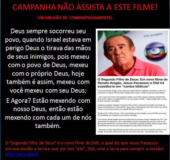 Mais um protesto contra o novo filme de Renato Aragão