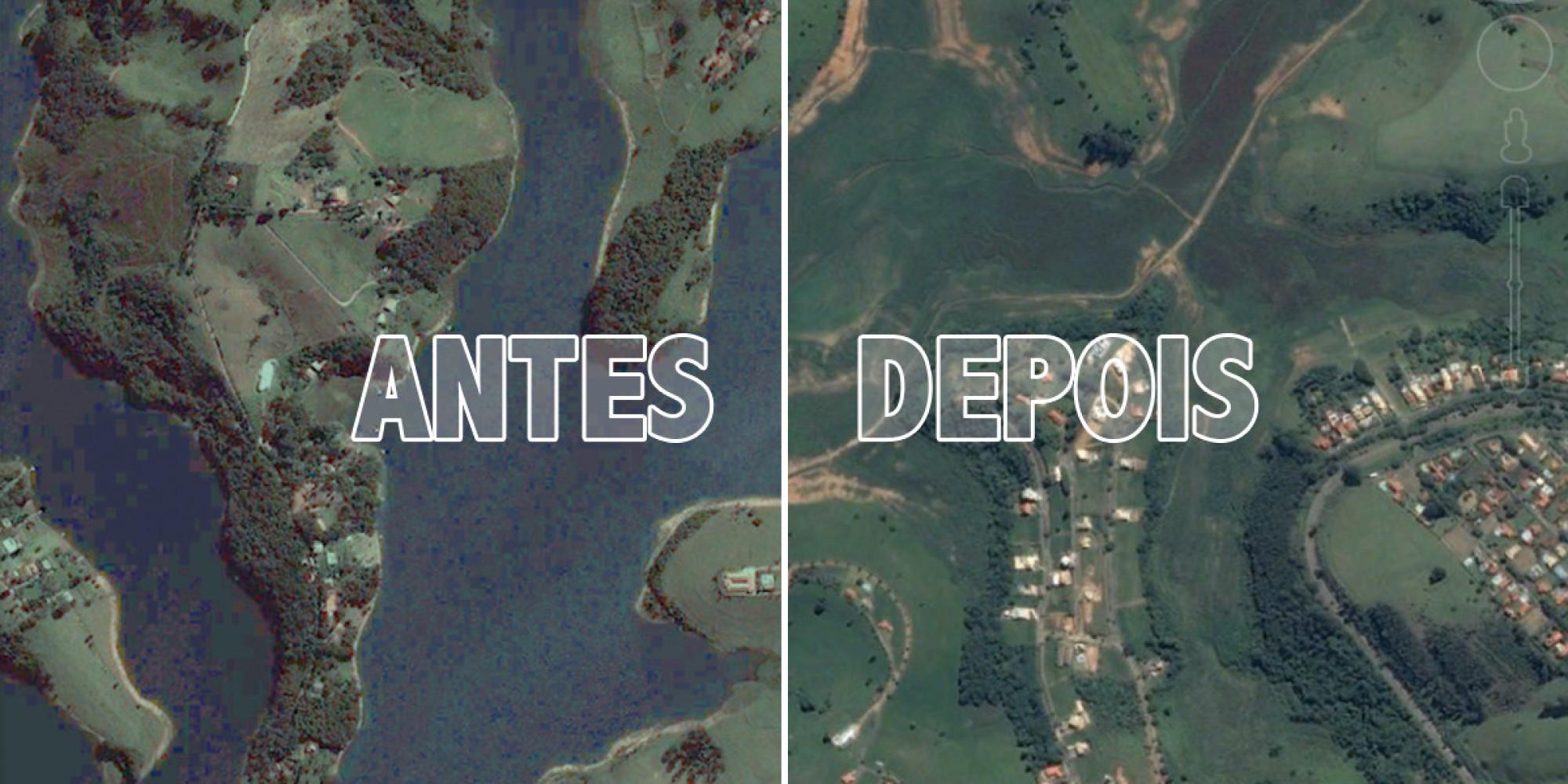 Sistema da Cantareira antes e depois da seca! (foto: Reprodução/BrasilPost/Google)