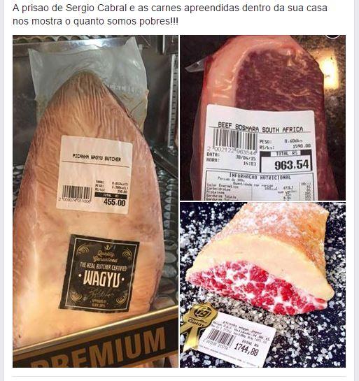 Carnes que teriam sido apreendidas na casa do ex-governador Sérgio Cabral! Será verdade? (fotos: Reprodução/Facebook)