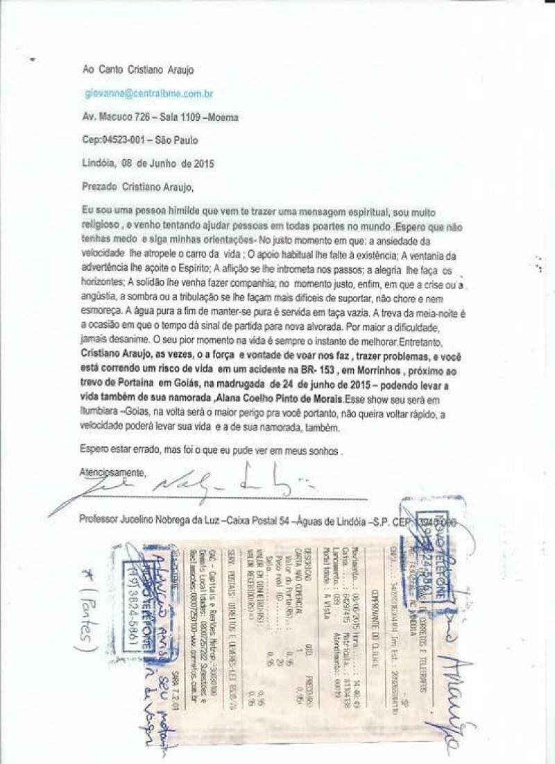 Carta premonitória teria sido enviada por vidente dias antes da morte de cantor! Será verdade? (foto: Reprodução/O Popular)