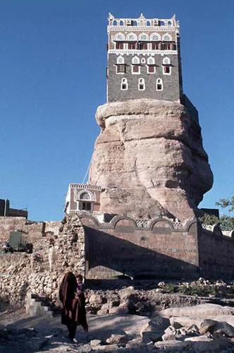 Foto real do Dar Al Hajar no Iêmen