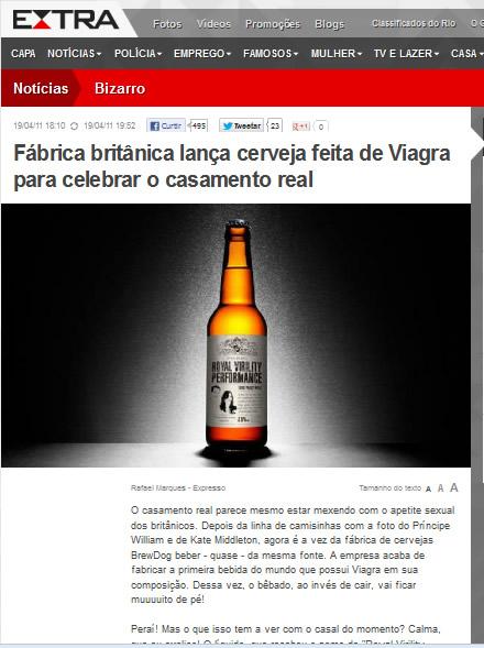 Noticia da cerveja com viagra no jornal Extra