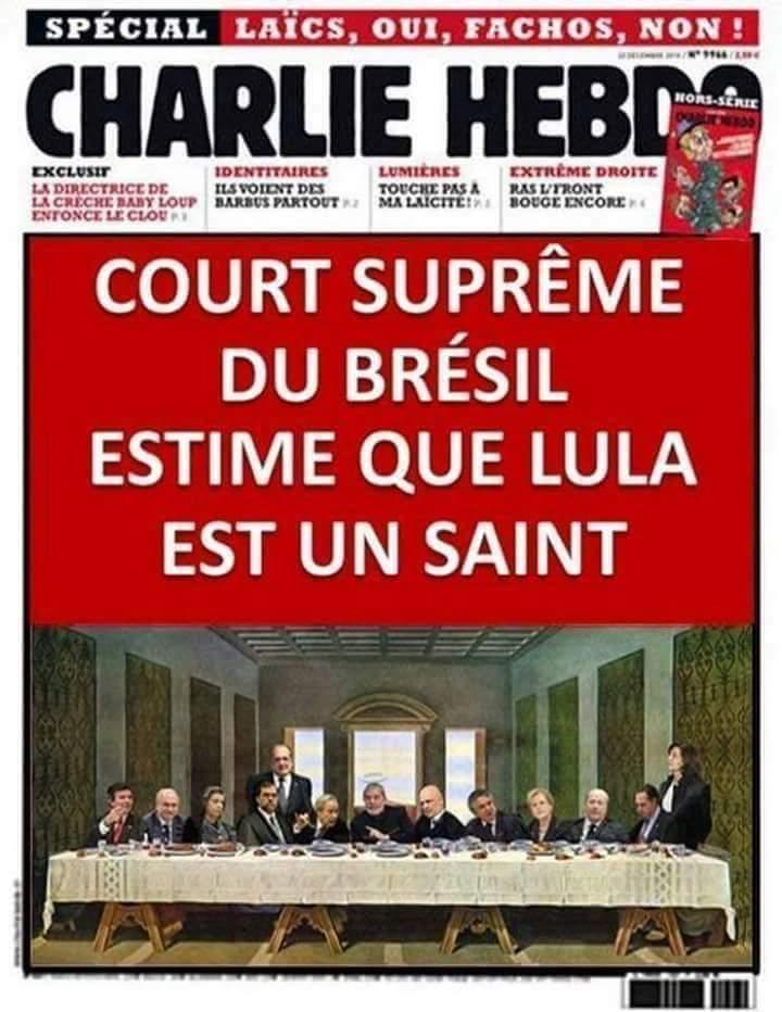 Capa da revista Charlie Hebdo mostrou que o STF brasileiro considera Lula um santo?