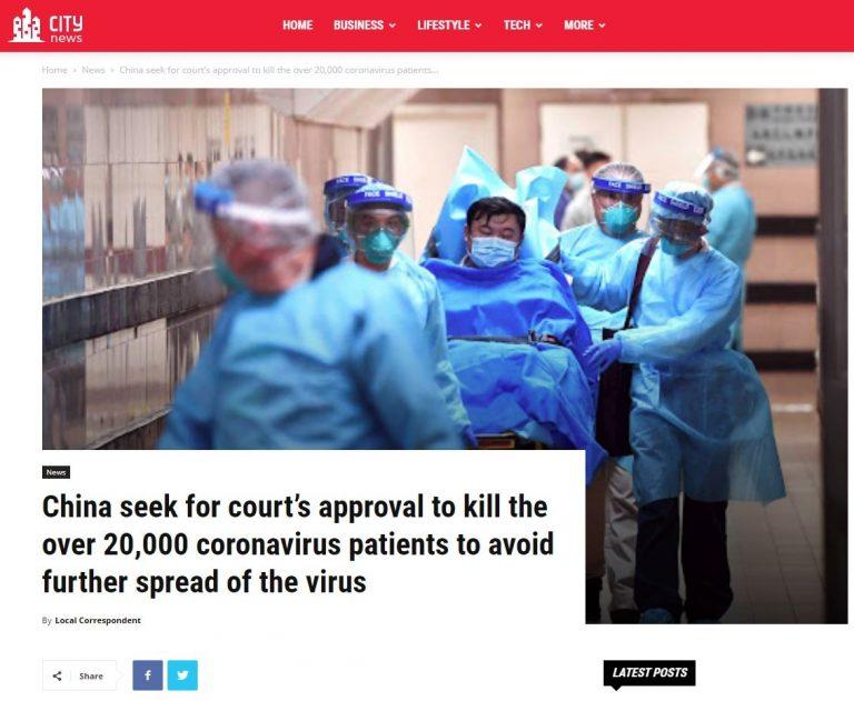 A China executou 20 mil contaminados pelo coronavírus?
