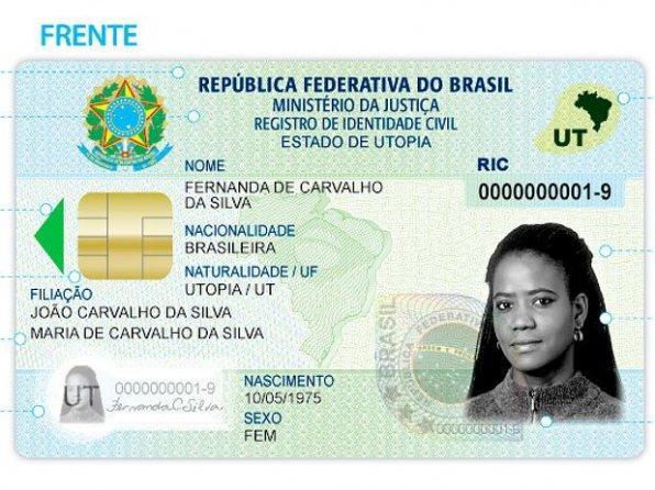 Novo documento de identidade, previsto para 2019 (foto: Divulgação/Ministério da Justiça)