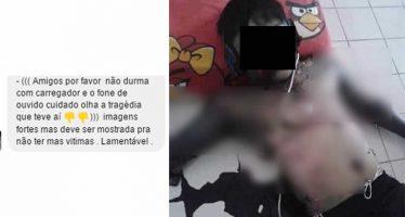 Rapaz teria morrido ao utilizar o smartphone enquanto estava carregando! Será verdade? (foto: Reprodução/WhatsApp)