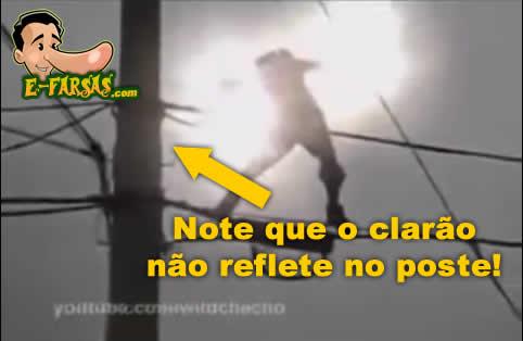 Note que o clarão não ilumina o poste! (foto: Reprodução/YouTube)