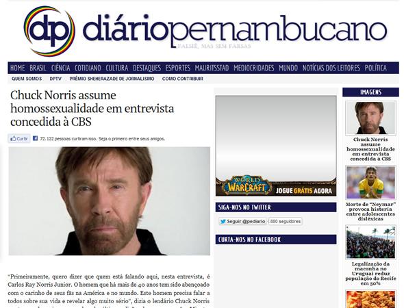Reprodução da matéria humorística do Diário Pernambucano sobre a suposta homossexualidade de Chuck Norris!