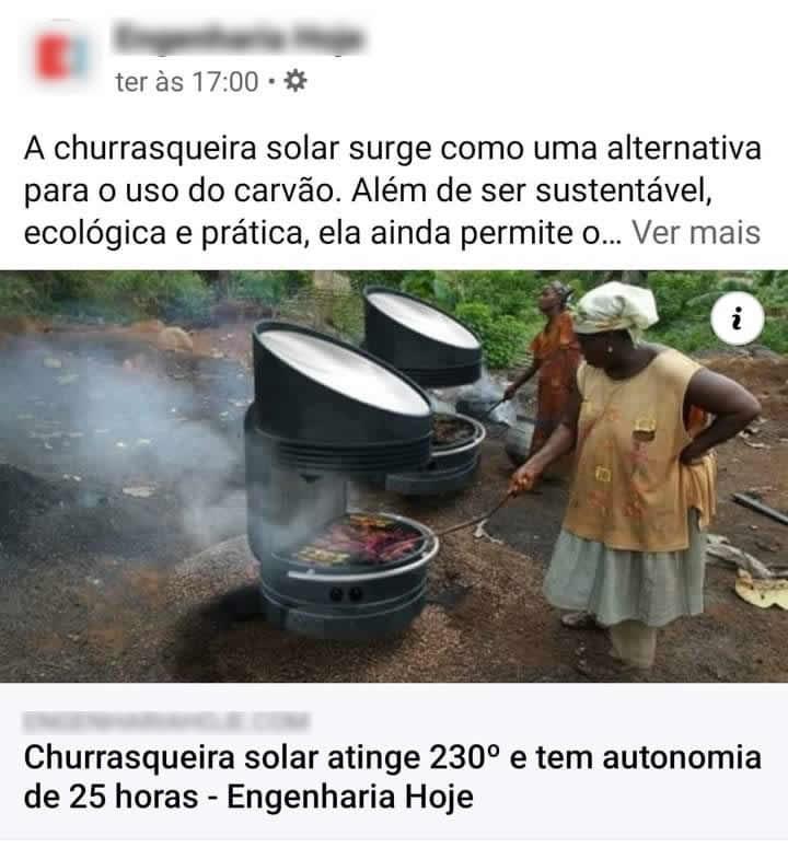 Professor cria churrasqueira solar de baixa renda que funciona por 25 horas! Será?