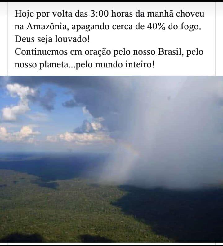 A chuva que caiu na Amazônia às 3 da manhã apagou 40% do fogo?