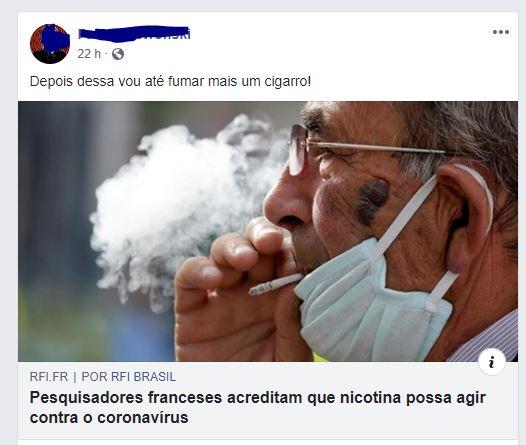 É verdade que o cigarro pode curar os pacientes do coronavírus?