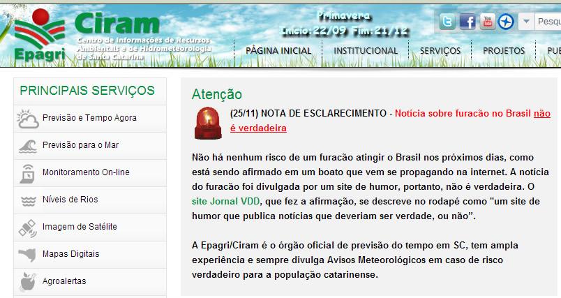 Reprodução da nota publicada no site da Ciram desmentindo essa notícia do furacão brasileiro