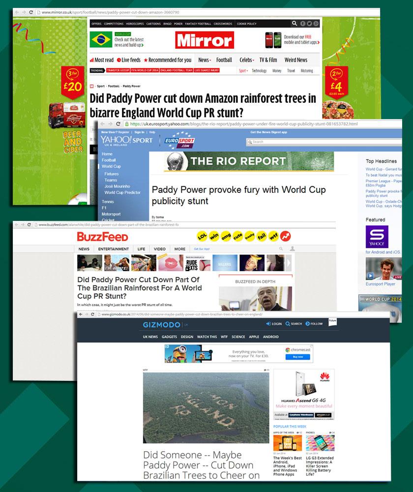Alguns dos sites que publicaram a notícia! (foto: Reprodução/Paddy Power)