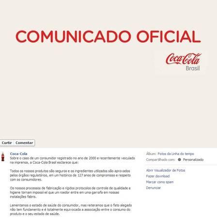 Reprodução da nota publicada no perfil da Coca-Cola no Facebook!