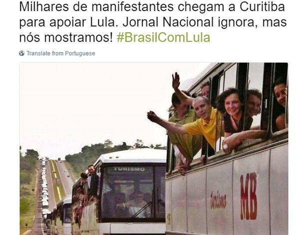Foto mostra fila de ônibus de comboio em apoio ao Lula! Será?