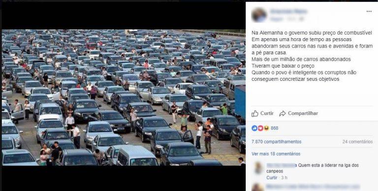 Motoristas abandonaram seus carros em protesto contra aumento na Alemanha?