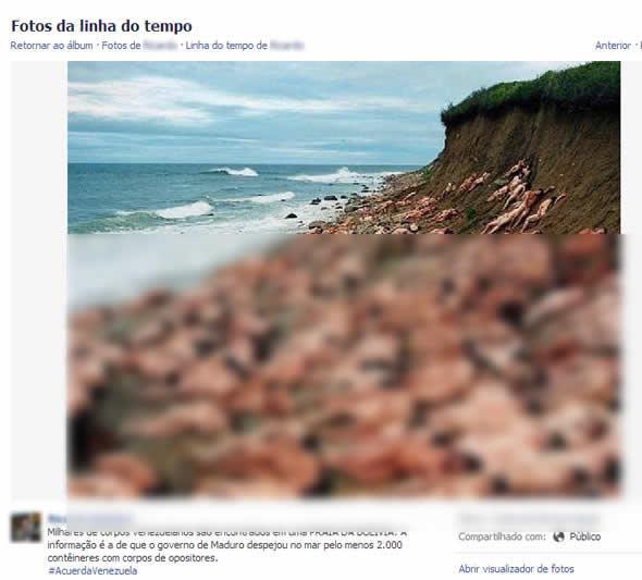 Na versão acima, o autor afirma que os corpos teriam sido jogados em uma praia da Bolívia. Será? (foto: Reprodução/Facebook)