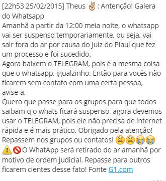 Corrente que se espalhou pelo WhatsApp!