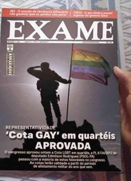 Capa da revista Exame sobre cota gay no Exército?