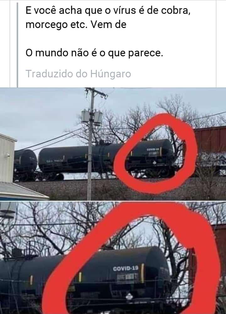 Será verdade que um trem de carga foi flagrado com COVID-19 em um de seus tanques?