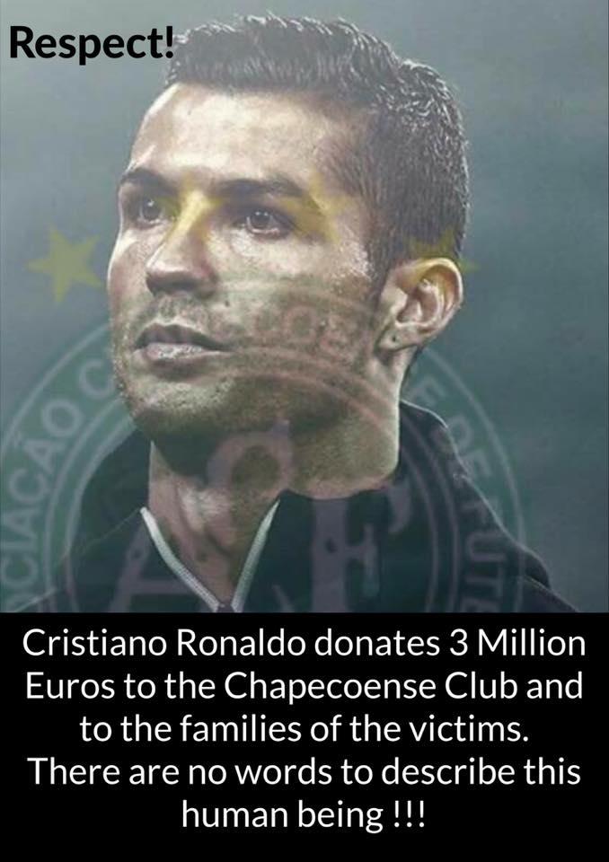 Cristiano Ronaldo teria doado 3 milhões de euros do seu salário para o Chapecoense! Será verdade?