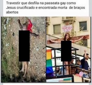 Travesti que desfilou presa a uma cruz na Parada Gay teria sido morta de braços abertos! Será verdade? (foto: reprodução/Facebook)