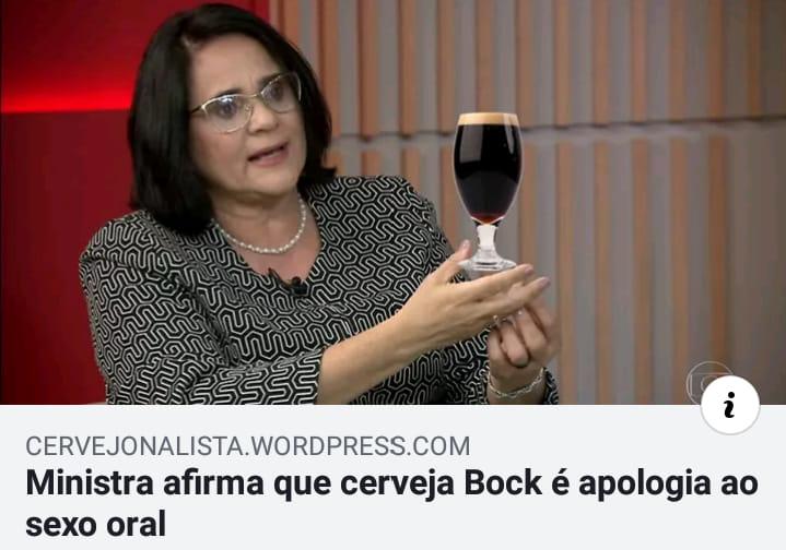 A ministra Damares disse que cerveja Bock é apologia ao sexo oral?