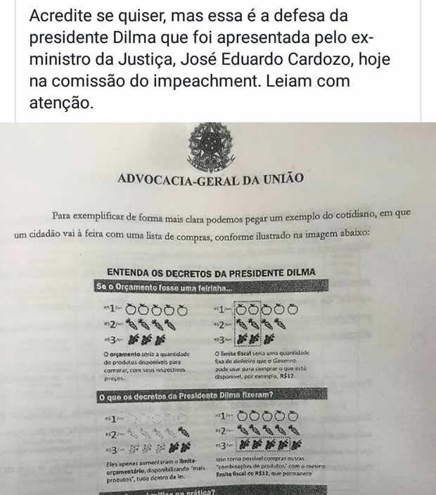 Defesa da Presidente Dilma teria sido feita em forma de desenhos infantis! Será verdade? (foto: Reprodução/Facebook)