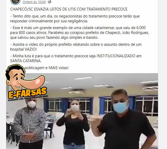 Chapecó em Santa Catarina esvaziou os leitos de UTI com tratamento precoce?