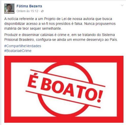 Deputada do PT está querendo instalar sinais de Wi-Fi nos presídios brasileiros! Será Verdade? (foto: Reprodução/Facebook)