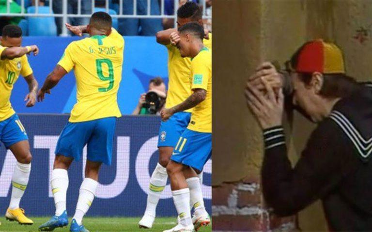 A seleção brasileira de futebol comemorou a vitória sobre o México imitando o choro do Quico?