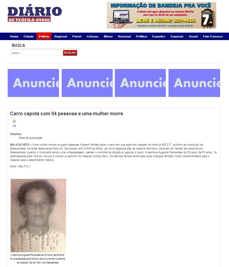 Reprodução da matéria sobre o acidente na versão online do Diário de Teófilo Otoni