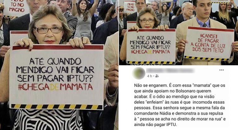 Manifestação bolsonarista pediu pela cobrança de IPTU e Luz de mendigos?