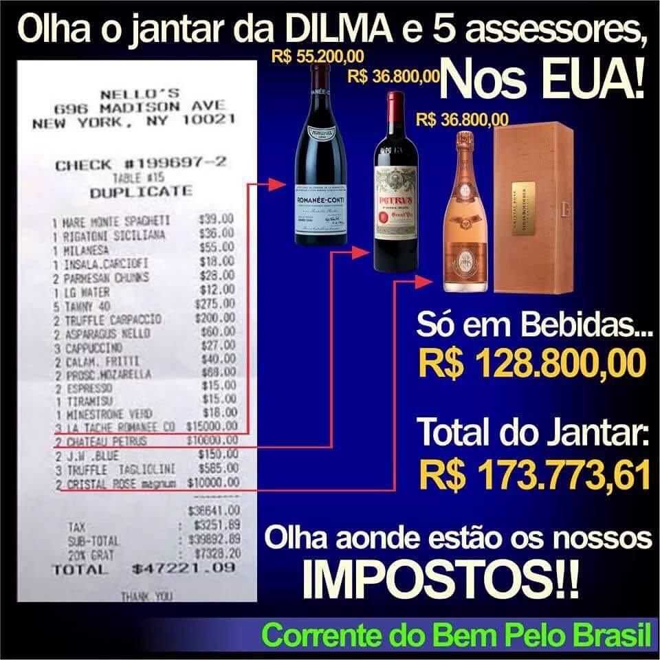 Dilma Rousseff teria gastado mais de 47 mil dólares em um restaurante chique em Nova Iorque! Será verdade? (foto: Reprodução/Facebook)