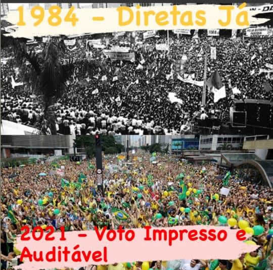 As fotos que comparam manifestações pelo voto impresso com as de 'Diretas Já' são reais?