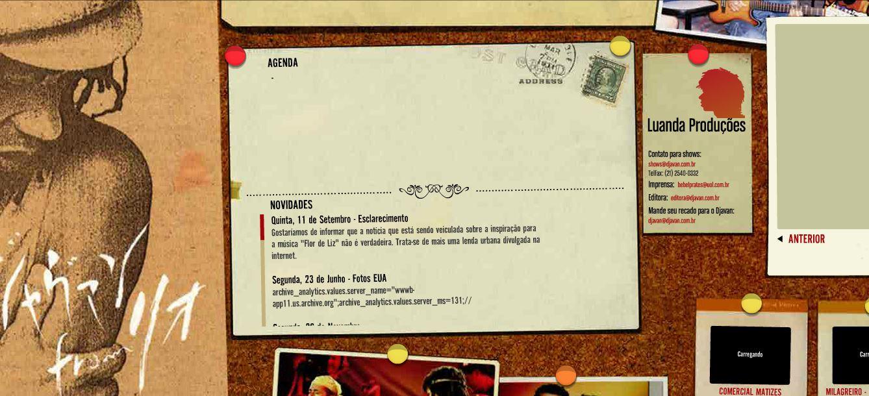 Site do cantor desmentiu esse boato em 2008! (foto: Reprodução/Djavan.com.br)