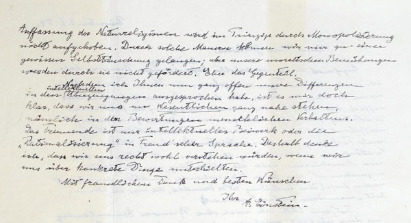 Carta de Einstein que foi vendida por 404.000 dólares.