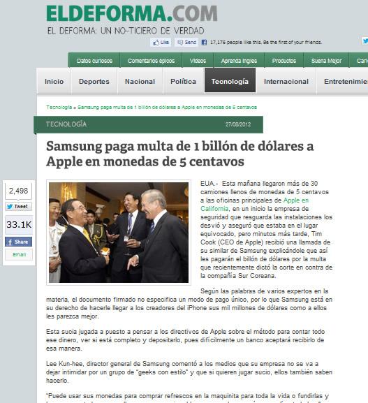 Reprodução da página do El Deforma. A postagem já teve mais de 33.000 compartilhamentos no Facebook!