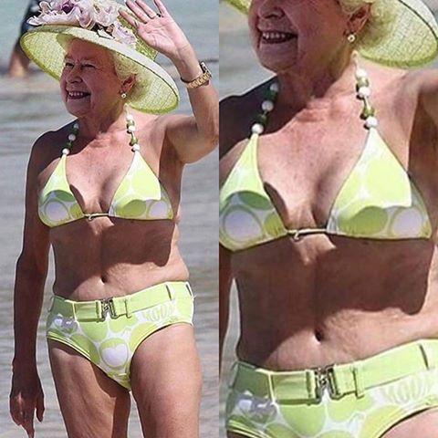 A rainha Elizabeth posou de biquíni na praia?
