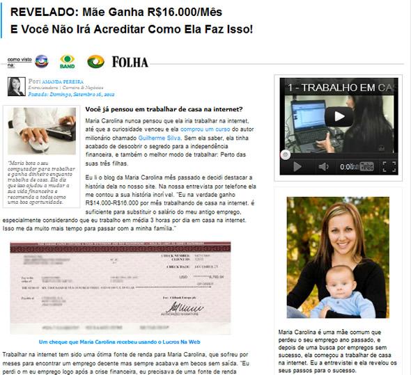 Mãe ganha 16.000 por mês trabalhando na web! Verdadeiro ou farsa?