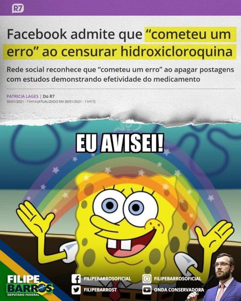 O Facebook admitiu que cometeu um erro ao censurar a hidroxicloroquina?
