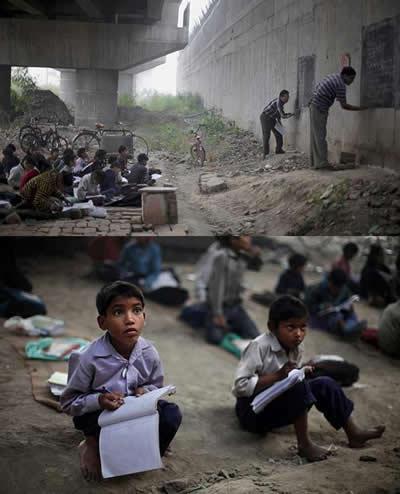 Fotos mostram alunos estudando debaixo de uma ponte! Será verdade? (foto: Reprodução/Facebook)