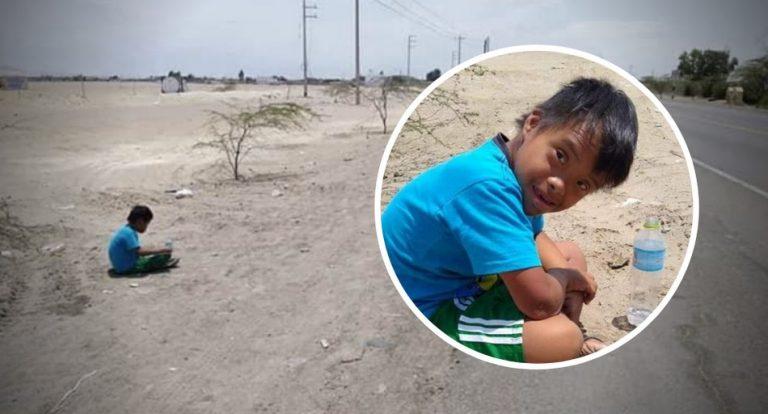 Um menino com Síndrome de Down foi abandonado numa estrada no Peru?