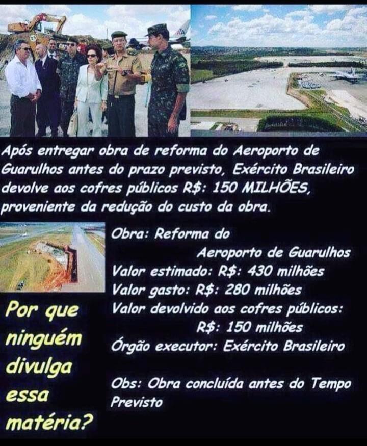 O Exército Brasileiro devolveu 150 milhões economizados em obra de aeroporto?