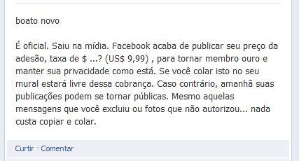 Texto afirma que o Facebook será cobrado! Verdadeiro ou falso? (Reprodução: Facebook)